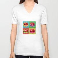 lips V-neck T-shirts featuring lips  by mark ashkenazi