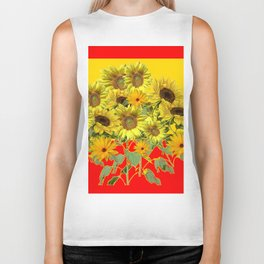 GOLDEN-RED SUNNY YELLOW SUNFLOWERS Biker Tank