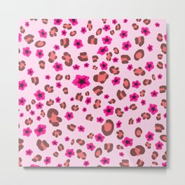 Romantic Leopard Print with Red Flowers on Pink Metal Print