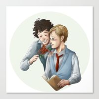 grantaire Canvas Prints featuring Grantaire et Combeferre by Sarlyne