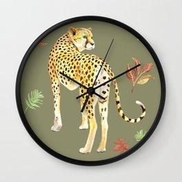 Cheetah Clearing Wall Clock