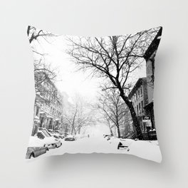 New York City At Snow Time Black and White Throw Pillow