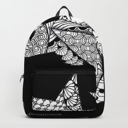 Midnight Zentangle Stars Black and White Illustration Backpack