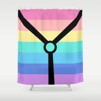 bondage Shower Curtains featuring Rainbow Bondage Bear by Pimenta