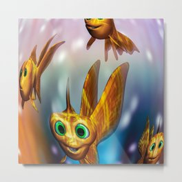 Three little fishies and a mama fishie too Metal Print