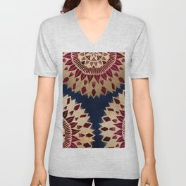 Bohemian Gold Navy Burgundy Hand Drawn Mandala Unisex V-Neck