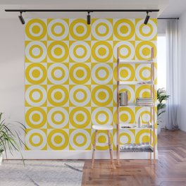 Mid Century Square and Circle Pattern 541 Yellow Wall Mural