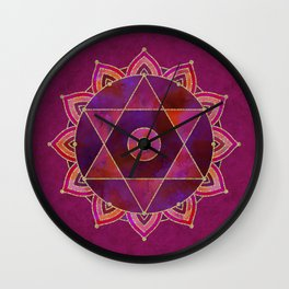 Rich Purpur And Gold Tribal Design Wall Clock