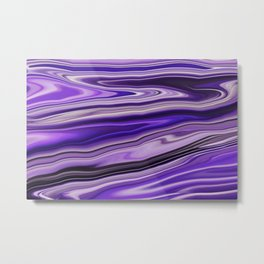 Purple Waves Abstract Art, Digital Fluid Artwork Metal Print