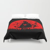 sasuke Duvet Covers featuring Red Moon Itachi by jpmdesign