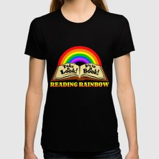 READING RAINBOW Black X-LARGE Womens Fitted Tee