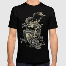Lucky Chinese Dragon In Grey and Gold Black 2X-LARGE Mens Fitted Tee