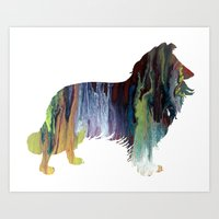 border collie Art Prints featuring Border Collie  by FurittusDesigns