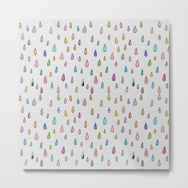 'Rainy Days' Colourful Illustrated Rain Drop Pattern Metal Print