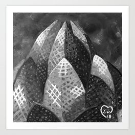 Lotus Temple by Lu, Black and White Art Print