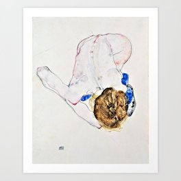 Egon Schiele - Nude with Blue Stockings, Bending Forward - Digital Remastered Edition Art Print