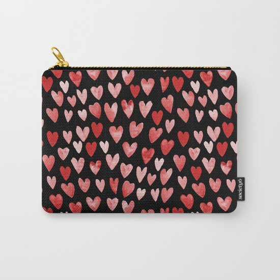 Watercolor Hearts pattern black red and pink minimal valentines day perfect gift for love Carry-All Pouch