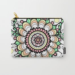 Doodle Art Flower Medallion - Pink Green Carry-All Pouch