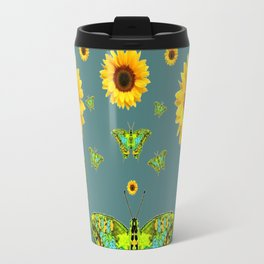 SUNFLOWERS & GREEN MOTHS ABSTRACT ART Travel Mug