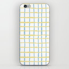 Pastel yellow teal watercolor geometrical checker stripes iPhone Skin