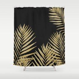 Golden Fern On Black Background Shower Curtain