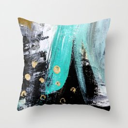 Fairy Dreams: an abstract mixed media piece in black, white, teal, and gold Throw Pillow