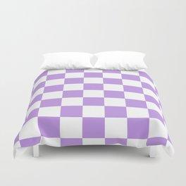 Checkered - White and Light Violet Duvet Cover