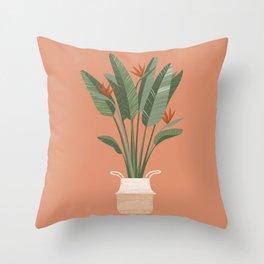 Bird of paradise in a basket pot Throw Pillow