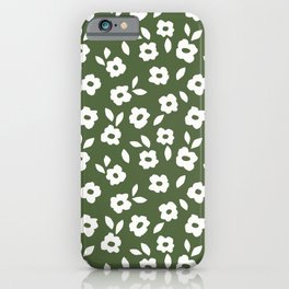 Simple Hand Cut Floral | Green iPhone Case