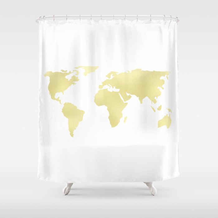 World Map Yellow Gold Shimmery Shower Curtain By Mapmaker