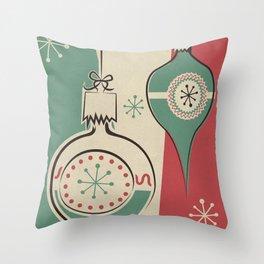 Retro Christmas Ornaments Throw Pillow