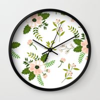 flower pattern Wall Clocks featuring Flower Pattern by Jenna Davis Designs