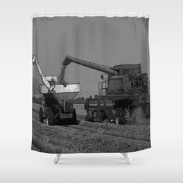 Black & White Rice Harvest Pencil Drawing Photo Shower Curtain