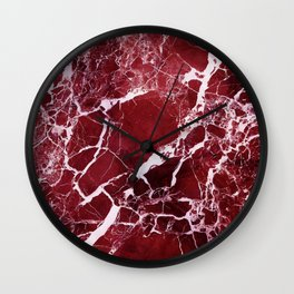 Ruby Red Marble Wall Clock