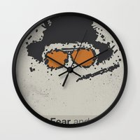fear and loathing Wall Clocks featuring Fear and Loathing in Las Vegas by Jacob Wise