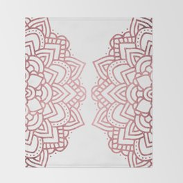 Modern geometric white rose faux gold floral mandala Throw Blanket