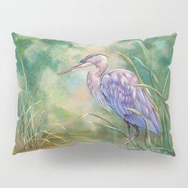 """Solitude"" - Pastel of Great Blue Heron Pillow Sham"