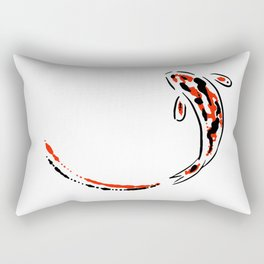 Black and Red Koi Fish Rectangular Pillow