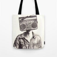 radio Tote Bags featuring Radio-Head by KatePowellArt