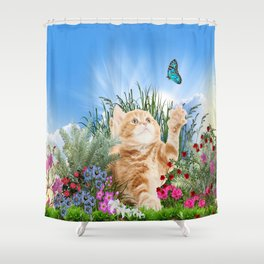 Ginger Kitten Playing with a Butterfly Shower Curtain
