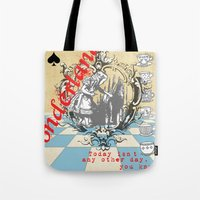 alice wonderland Tote Bags featuring Wonderland by TooShai Studios
