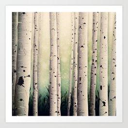 Birch wood at Midsummer Art Print