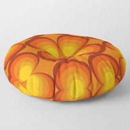 70s Circle Design - Orange Background Floor Pillow