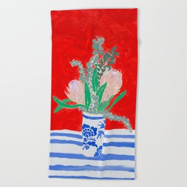 Protea Still Life in Red and Delft Blue Beach Towel