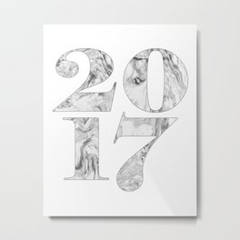 2017 Year sign Marble, Black & white, Numbers art, Numerical Metal Print