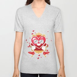 Cool Heart King Sitting Valentines Day Hearts Day Unisex V-Neck