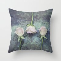 three of the possessed Throw Pillows featuring Three by Maria Heyens
