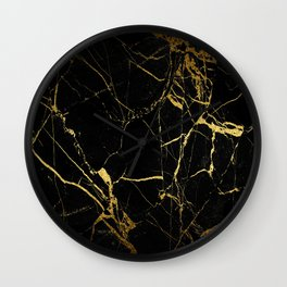 back & gold marble Wall Clock