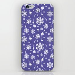 Purple Holiday Snowflake Pattern iPhone Skin