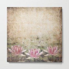 Pink Lotus Grunge Metal Print
